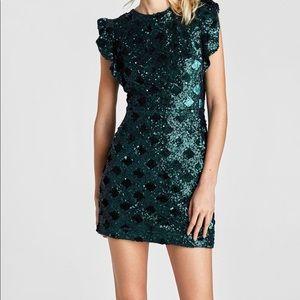 Zara dark green short sequin dress